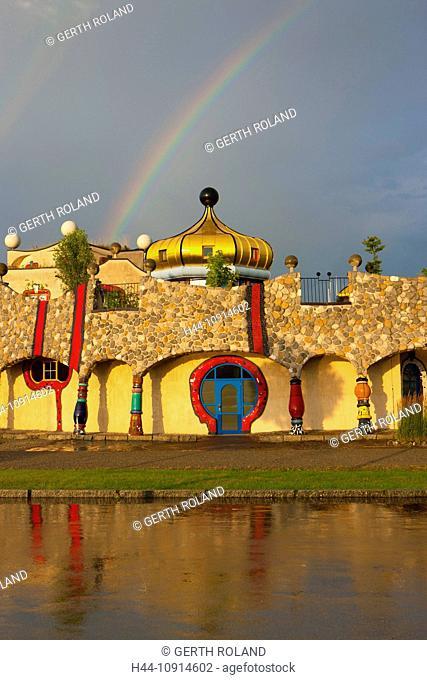 Staad, Hundertwasser, Switzerland, canton St. Gallen, Lake of Constance region, covered market, architecture, artist, Hundertwasser, clouds, rainbows
