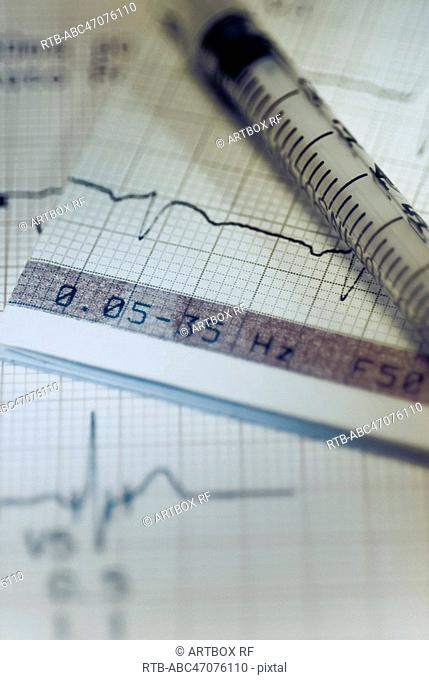 Close-up of a syringe on an ECG report