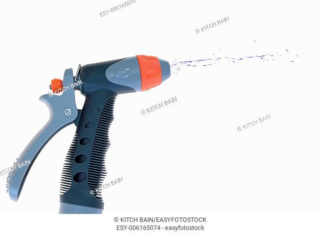 A close up image of a garden hose