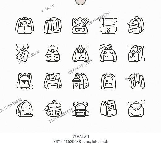 Backpack Well-crafted Pixel Perfect Vector Thin Line Icons 30 2x Grid for Web Graphics and Apps. Simple Minimal Pictogram