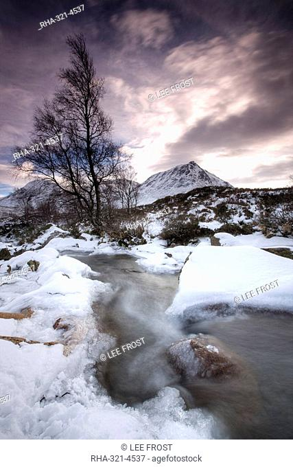 River Coupall on a snowy winter's day, Rannoch Moor, Highland, Scotland, United Kingdom, Europe
