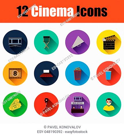 Set of cinema icons. Full color with shadow flat design. Vector illustration