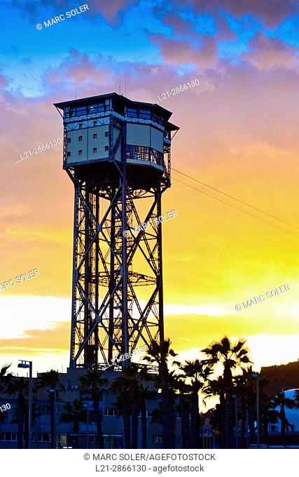 Torre de Sant Sebastià. Port Vell Aerial Tramway. Barceloneta, Barcelona, Catalonia, Spain