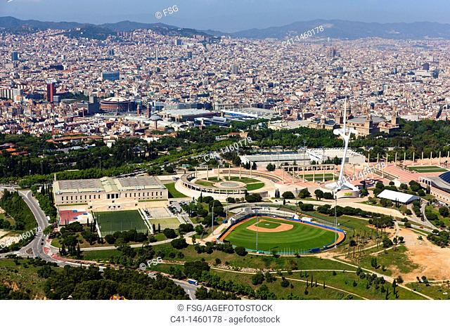 Olympic ring, Montjuic, Barcelona, Spain