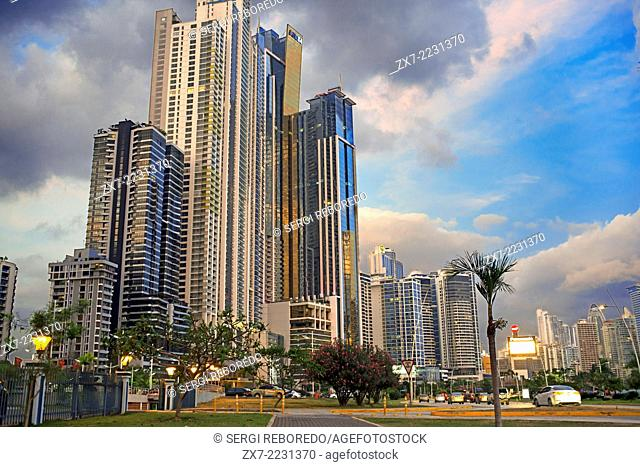 Balboa Avenue skyline skyscraper road seawall new. Skyline, Panama City, Panama, Central America. Cinta Costera Pacific Ocean Coastal Beltway Bahia de Panama...