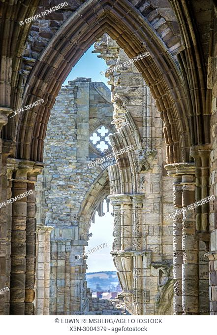 Series of archways of Whitby Abbey, Whitby, Yorkshire, UK