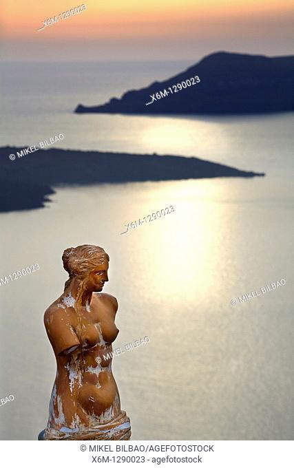 Greek statue in Fira village.Santorini island, Cyclades islands, Aegean Sea, Greece, Europe