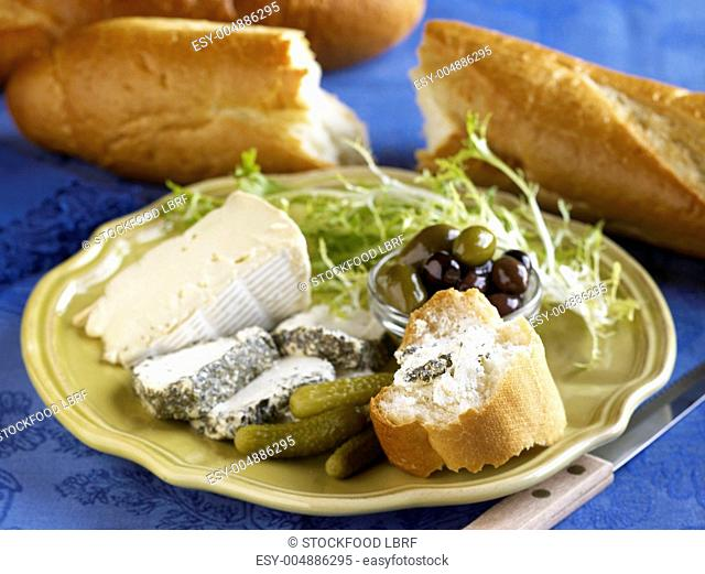Cheese Plate with Pickles, Olives and Bread