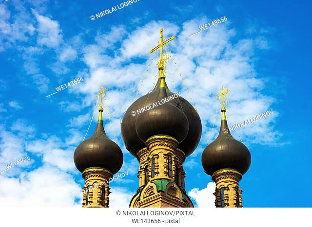 Horizontal Russian temple with clouds background