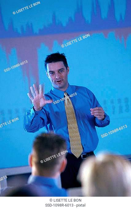 Businessman conducting a presentation