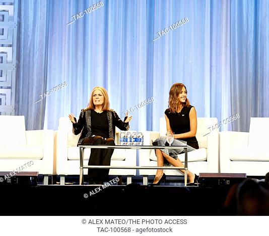 Jessica Alba and Gloria Steinem speak during a keynote Q&A at the 2015 Pennsylvania Women's Conference