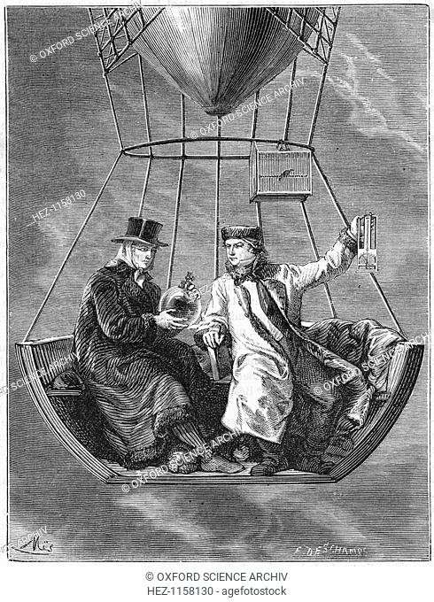 Jean Baptiste Biot and Joseph Louis Gay-Lussac, French scientists, 1804 (1870). Biot (1774-1864) and Gay-Lussac (1778-1850) are shown making measurements at a...