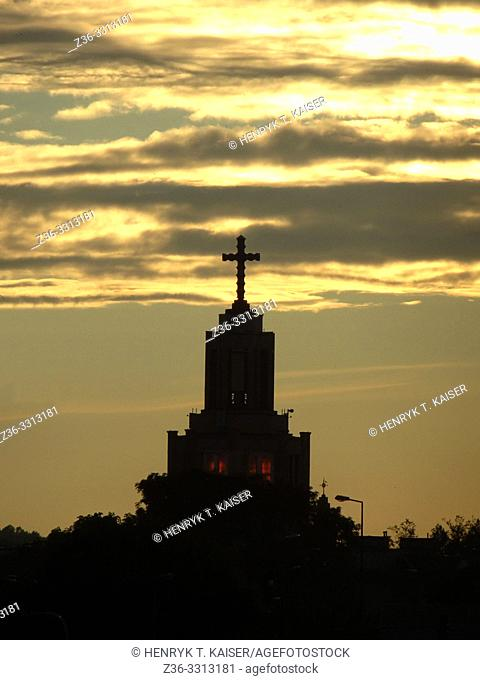 Tower of Church Our Lady of Fatima at sunset, Krakow, Poland