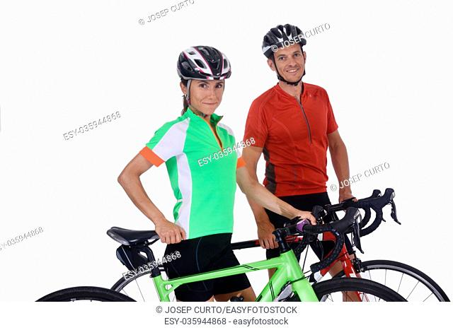 Couple with bike isolated on white