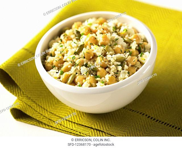 Couscous with beans and pumpkin seeds