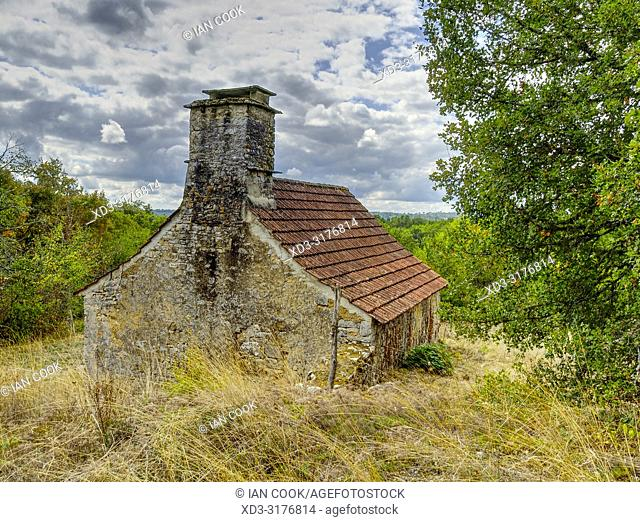 old stone architecture, Lot Department, Occitanie, France.