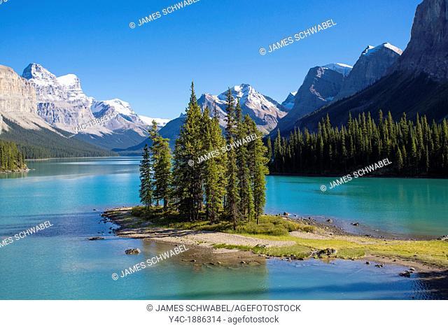 Spirit Island inMaligne Lake In Jasper National Park in Alberta Canada