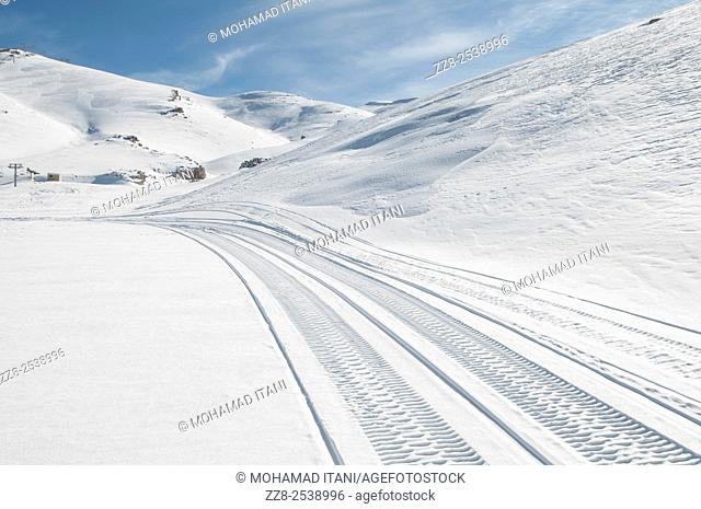 Wheel tracks on snow faraya Lebanon