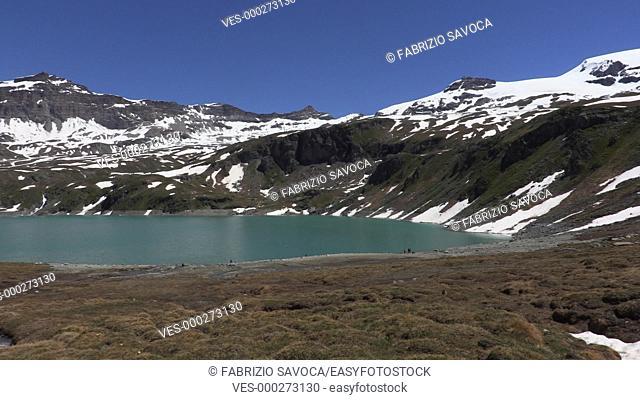 Lake Goillet and Mount Cervino or Matterhorn, Aosta Valley, Italy