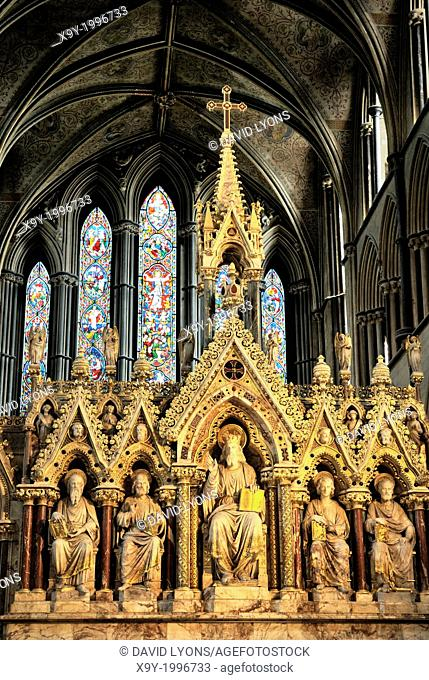 Worcester Cathedral, England. Intricate carving of the High Altar before the East Window