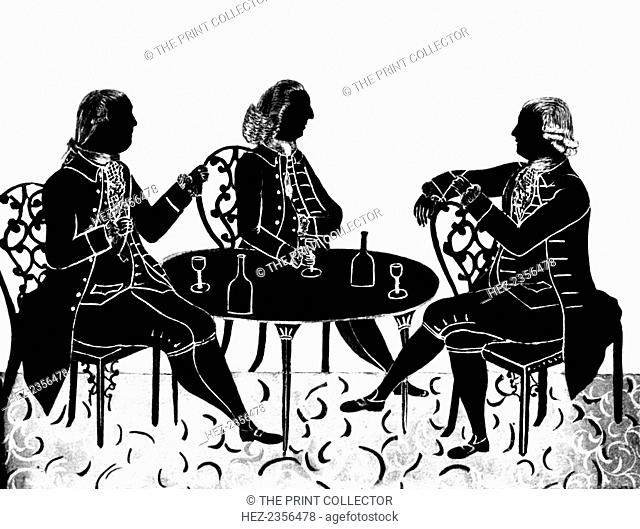 'The Messrs Hostayn and the Reverend R Wood', (1912). Cut with scissors. A print from One Hundred Silhouette Portraits, Horace Hart