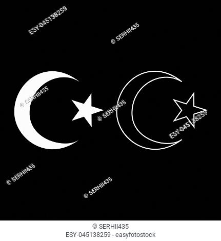 Symbol of Islam crescent and star with five corners icon set white color vector illustration flat style simple image