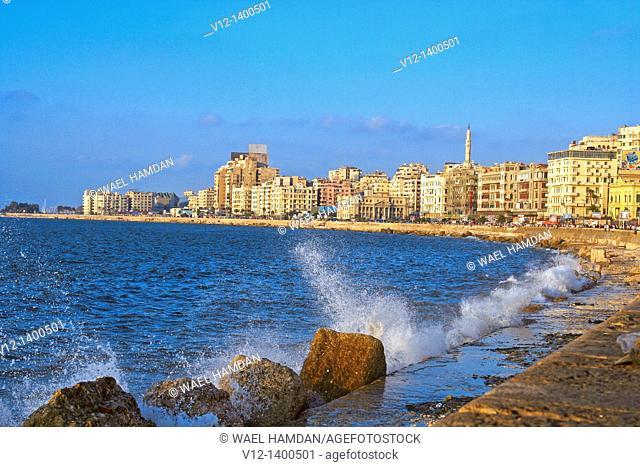 Corniche of Alexandria in evening light,Alexandria , Egypt, North Africa