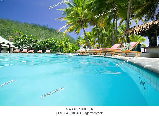 Swimming pool at the Walu Beach resort on Malolo island Fiji