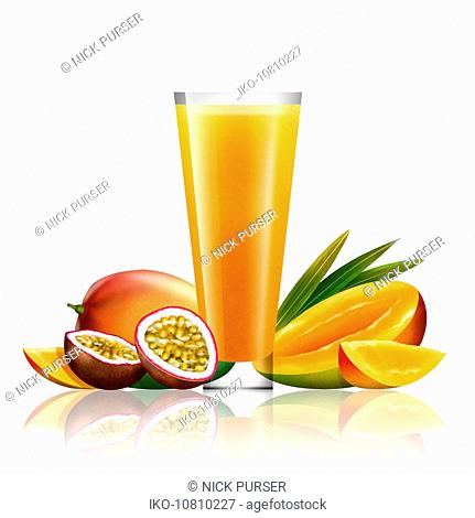 Fresh mango and passionfruit and glass of juice
