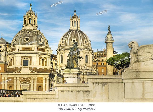 santa maria di loreto and santissimo nome di maria al foro traiano churches, ^trajan's column, partial view of altare della patria