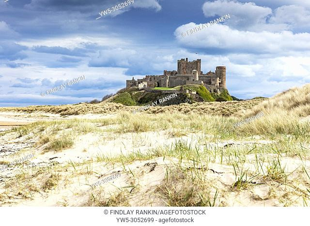 Bamburgh Castle from the sand dunes, Northumberland, England, UK, England
