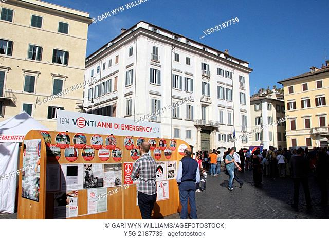 Rome Italy. 10th May 2014 Emergency the Italian humanitarian NGO which provides medical assistance to victims of war celebrates 20 years of activity in piazza...
