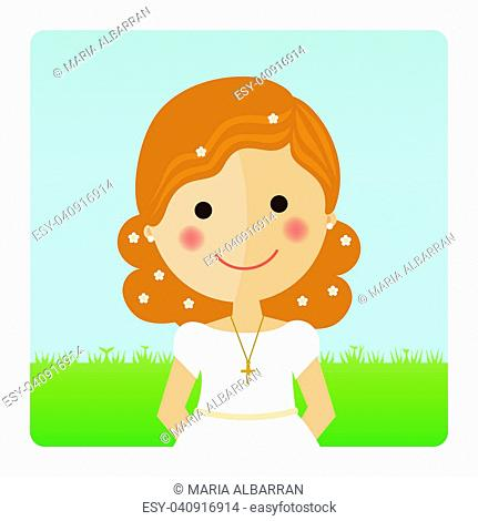 Girl communion foreground with curly hair on blue sky background