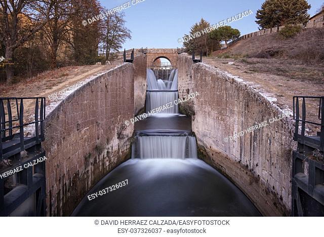 Waterfall in Touristic attraction Canal de Castilla, famous landmark in Palencia, Spain