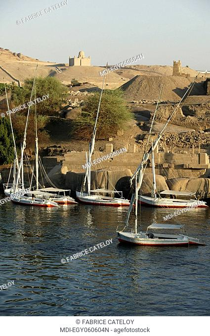 Felouques along the Elephantine island on the Nile and in the background the Aga Khan Mausoleum