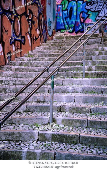 Steep street and graffiti, Lisbon