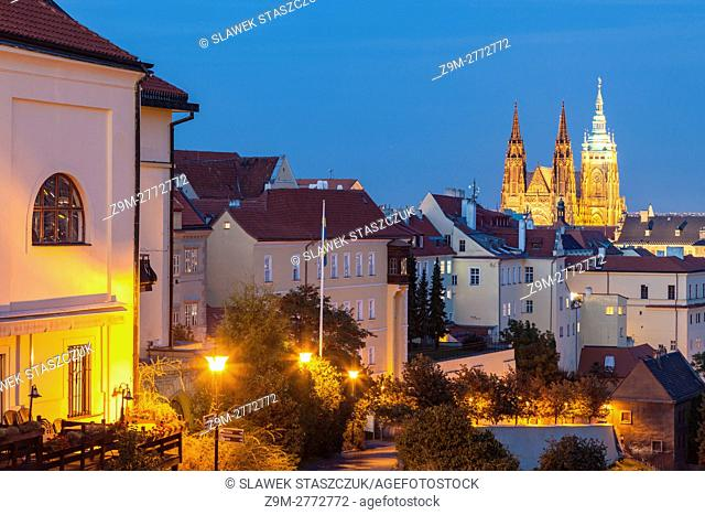 Evening at Hradcany, Prague, Czech Republic. St Vitus cathedral dominates the skyline