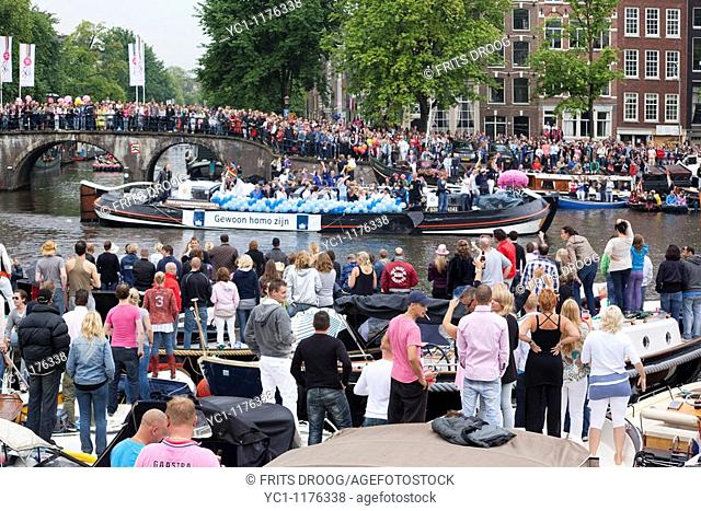 Dutch Goverment presenting itselve on the Canal Parade during Gay Pride Amsterdam 2010
