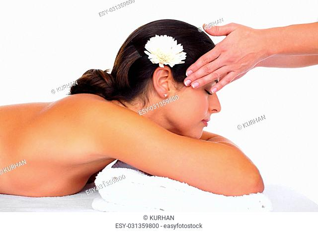Beautiful woman having massage. Relaxation and health background