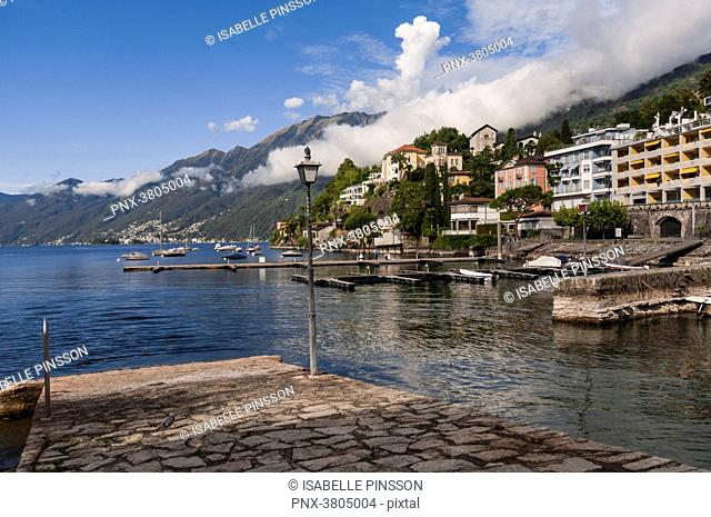 Switzerland, Ticino canton, Ascona, from Giuseppe Motta Place on Lake Maggiore