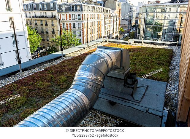 Paris, France, Detail, Ventilation System on Roof of Rehabilitation of Immigrant Housing Project, Foyer Tolbiac, Eco-Building, energy efficient building