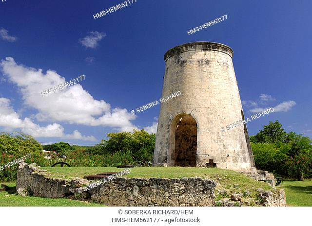 France, Guadeloupe French West Indies, Ile de Marie Galante, Grand Bourg, windmill of the Habitation Murat or Murat castle