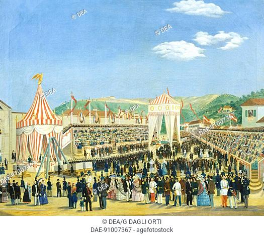 Ceremony for the laying of the cornerstone of the railway station in Trieste, by Vincent Poiret (1813-1868 ca), Italy 19th century