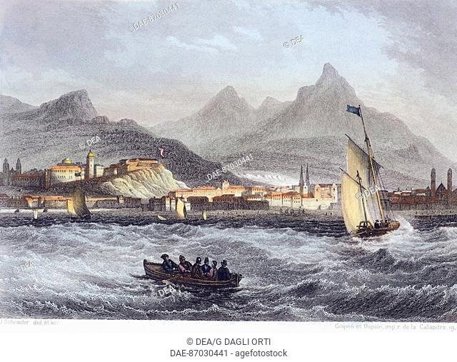 View of Buenos Aires, Argentina 19th century. Engraving
