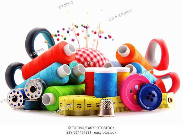 Composition with tailor threads isolated on white background