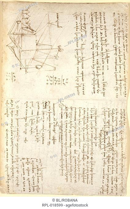 Leonardo da Vinci's notes, Whole folio Notes and diagram by Leonardo da Vinci Image taken from Notebook of Leonardo da Vinci