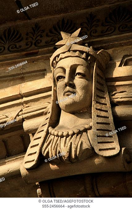 Woman's face, decorative detail in the entrance of a building at Rambla Catalunya, Barcelona, Catalonia, Spain