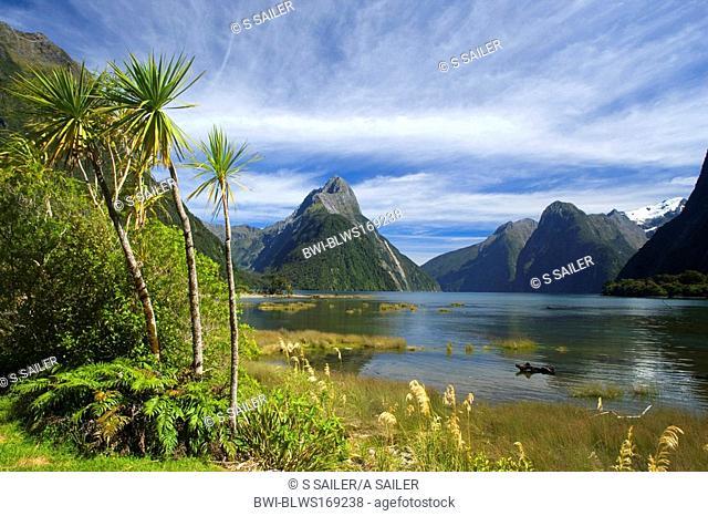 Milford Sound, landmark Mitre Peak and surrounding mountains , New Zealand, Southern Island, Fjordland National Park