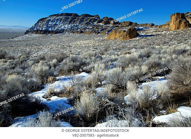 Fort Rock desert to outcrop, Fort Rock State Park, Christmas Valley National Back Country Byway, Oregon