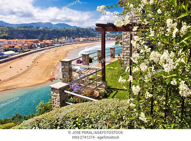On background Sella River estuary, Ribadesella, Asturias, Spain, Europe,
